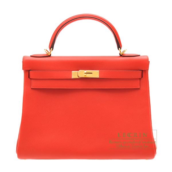 Hermes Kelly bag 32 Retourne Rouge tomate Evercolor leather Gold hardware