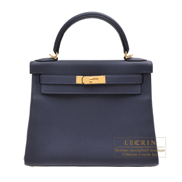 Hermes Kelly bag 28 Retourne Blue nuit Togo leather Gold hardware