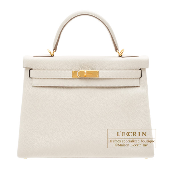 Hermes Kelly bag 32 Retourne Craie Clemence leather Gold hardware