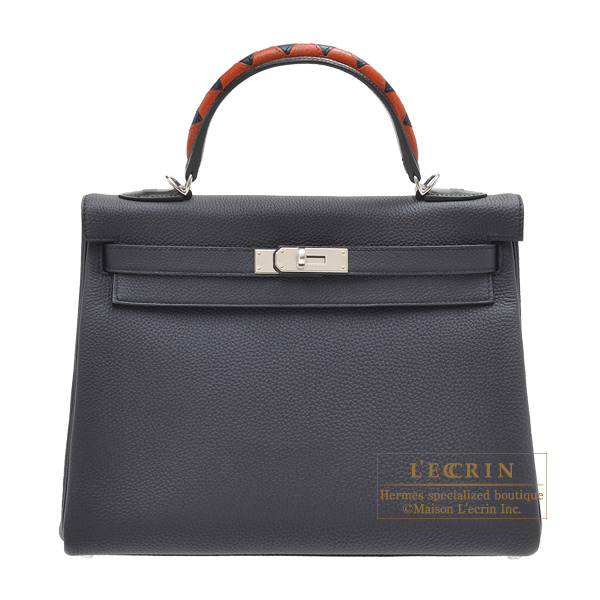 Hermes Kelly Au Galop bag 32 Retourne Blue indigo/ Black/Cuivre Togo leather/ Box calf leather/Chevre myzore goatskin Silver hardware