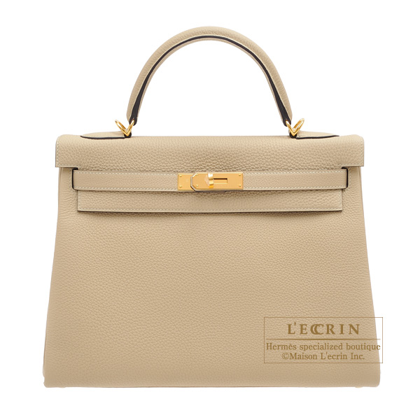Hermes Kelly bag 32 Retourne Trench Togo leather Gold hardware