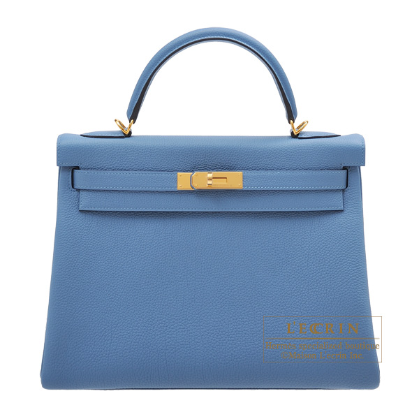 Hermes Kelly bag 32 Retourne Azur Togo leather Gold hardware