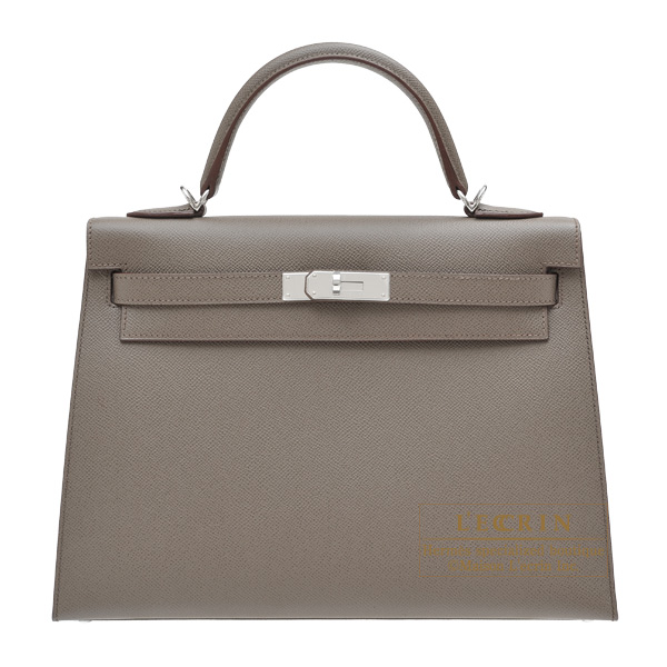 Hermes Kelly bag 32 Sellier Etain Epsom leather Silver hardware