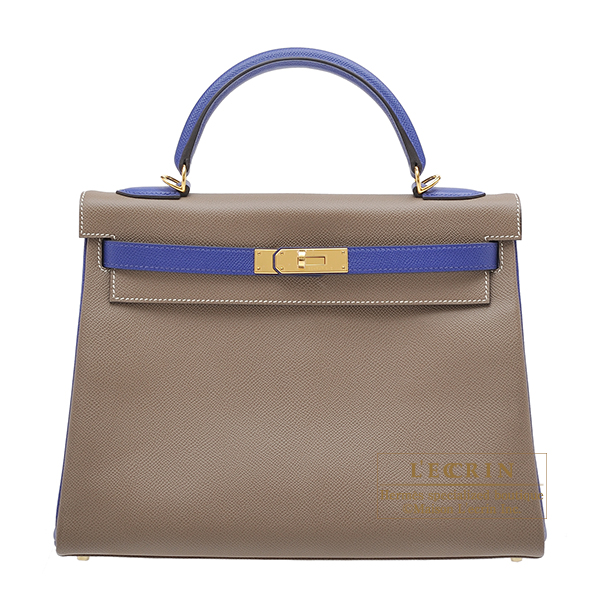 Hermes Personal Kelly bag 32 Retourne Etoupe grey/Blue electric Epsom leather Gold hardware