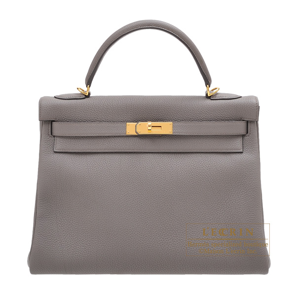 Hermes Kelly bag 32 Retourne Etain Togo leather Gold hardware