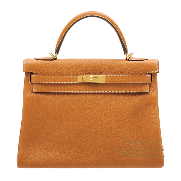 Hermes Kelly bag 32 Retourne Toffee Clemence leather Gold hardware