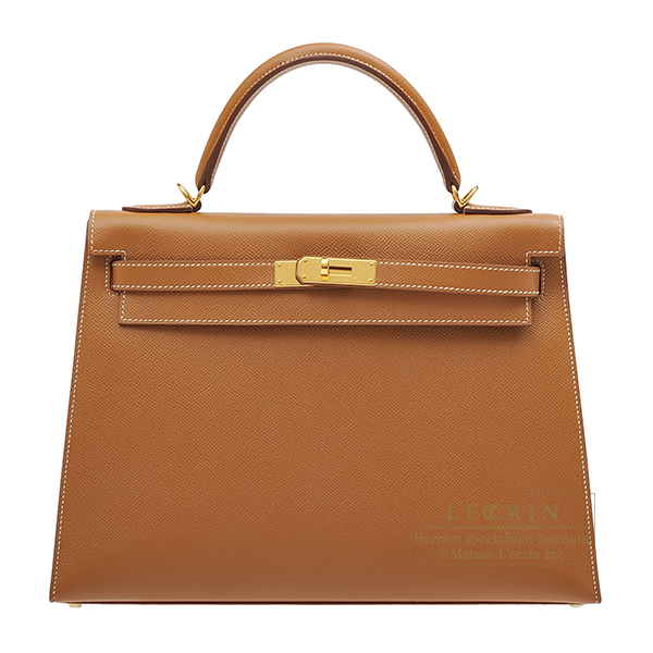 Hermes Kelly bag 32 Sellier Gold Epsom leather Gold hardware