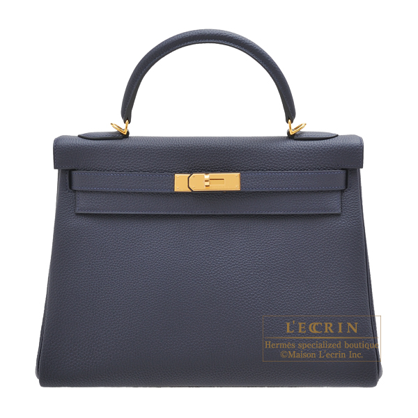 Hermes Kelly bag 32 Retourne Blue nuit Togo leather Gold hardware