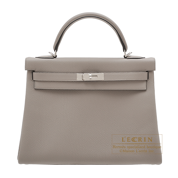 Hermes Kelly bag 32 Retourne Gris asphalt Togo leather Silver hardware