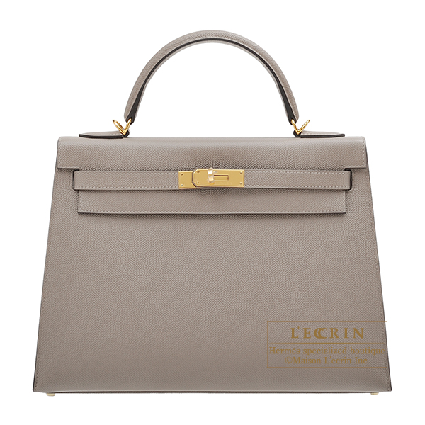 Hermes Kelly bag 32 Sellier Gris asphalt Epsom leather Gold hardware