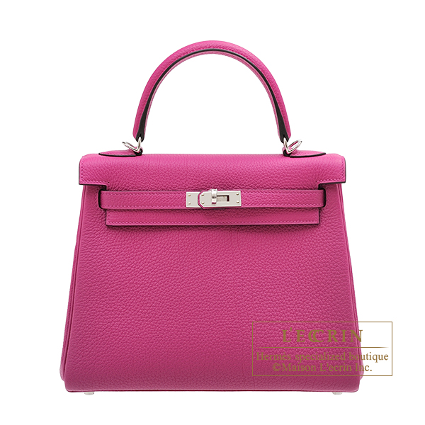 Hermes Kelly bag 25 Retourne Rose purple Togo leather Silver hardware