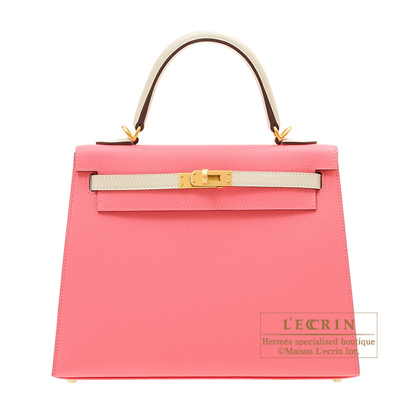 Hermes Personal Kelly bag 25 Sellier Rose azalee/Craie Epsom leather Matt gold hardware
