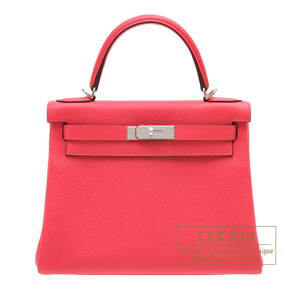 Hermes Kelly bag 28 Retourne Rose extreme Clemence leather Silver hardware