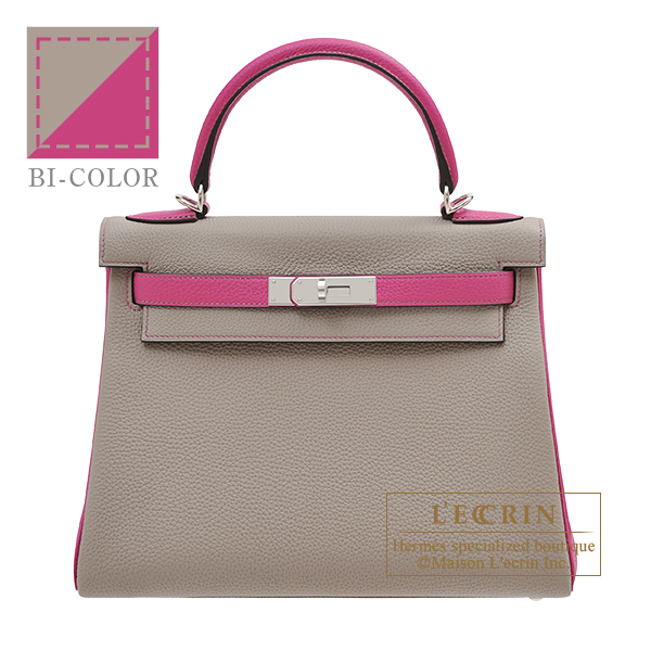 Hermes Personal Kelly bag 28 Retourne Gris asphalt/ Rose purple Togo leather Silver hardware