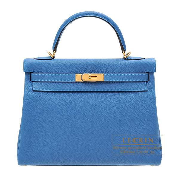 Hermes Kelly bag 32 Retourne Mykonos Clemence leather Gold hardware