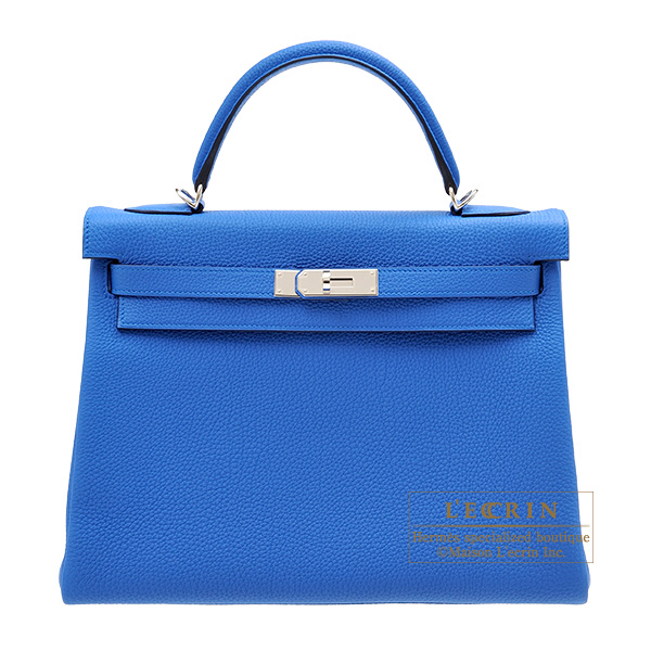 Hermes Kelly bag 32 Retourne Blue zellige Togo leather Silver hardware