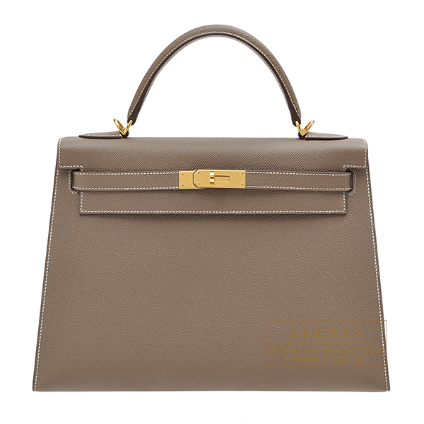 Hermes Kelly bag 32 Sellier Etoupe grey Epsom leather Gold hardware