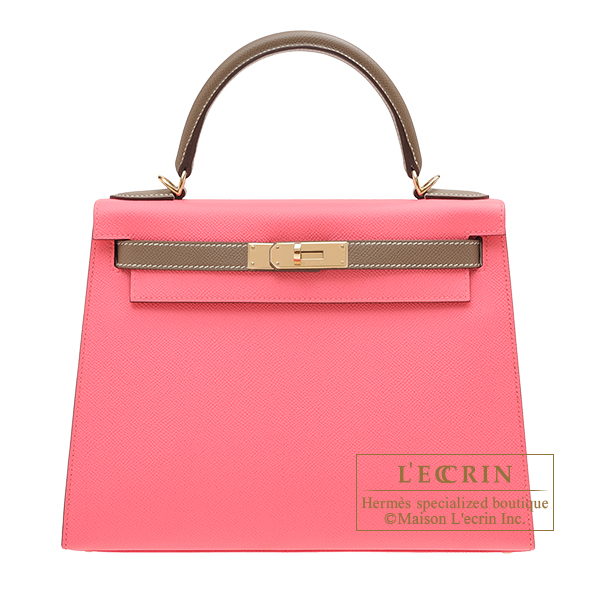 Hermes Personal Kelly bag 28 Sellier Rose azalee/ Etoupe grey Epsom leather Champagne gold hardware