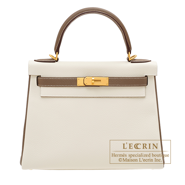 Hermes Personal Kelly bag 28 Retourne Craie/ Etoupe grey Togo leather Matt gold hardware