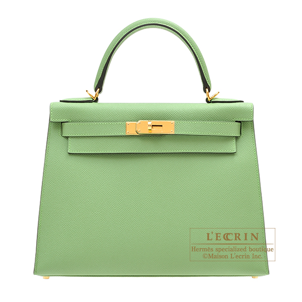 Hermes Kelly bag 28 Sellier Vert criquet Epsom leather Gold hardware