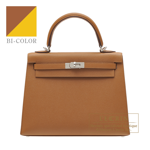 Hermes Kelly Verso bag 25 Sellier Gold/ Jaune ambre Epsom leather Silver hardware