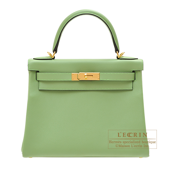 Hermes Kelly bag 28 Retourne Vert criquet Evercolor leather Gold hardware