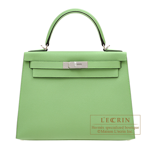 Hermes Kelly bag 28 Sellier Vert criquet Epsom leather Silver hardware