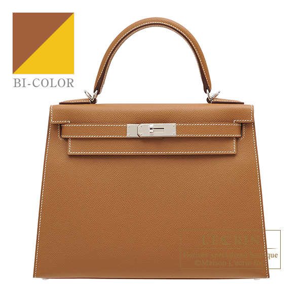 Hermes Kelly Verso bag 28 Sellier Gold/ Jaune ambre Epsom leather Silver hardware