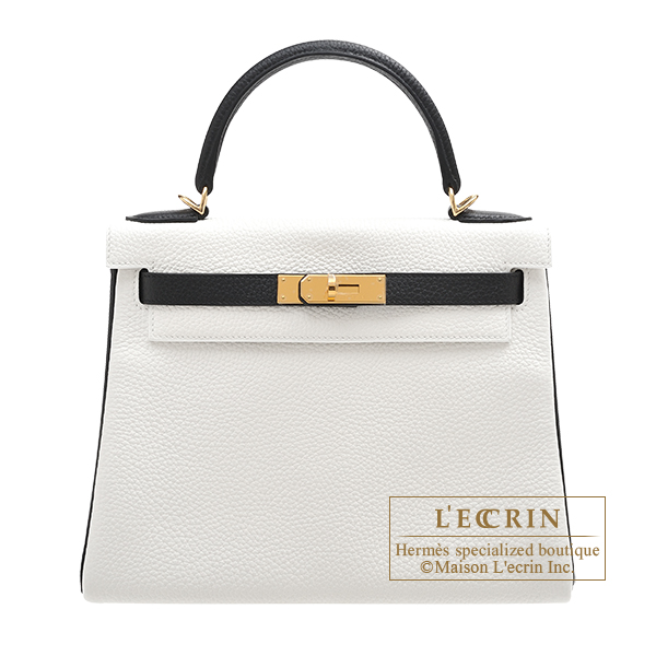 Hermes Personal Kelly bag 28 Retourne White/ Black Clemence leather Gold hardware