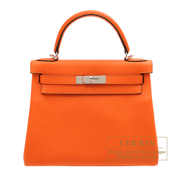 Hermes Kelly bag 28 Retourne Feu Clemence leather Silver hardware
