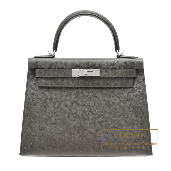 Hermes Kelly bag 28 Sellier Vert gris Epsom leather Silver hardware