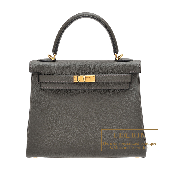 Hermes Kelly bag 25 Retourne Vert Gris Togo leather Gold hardware