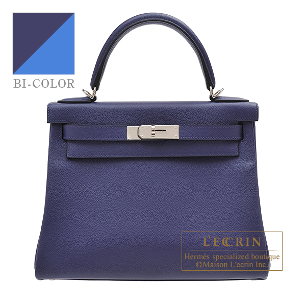 Hermes Kelly Verso bag 28 Retourne Blue encre/ Blue zellige Evercolor leather Silver hardware