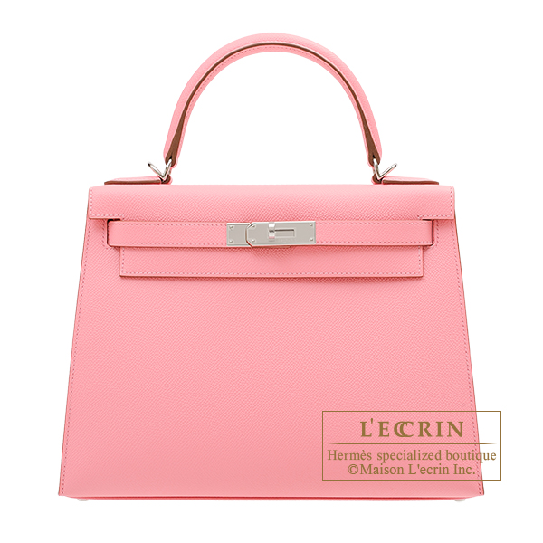 Hermes Kelly bag 28 Sellier Rose confetti Epsom leather Silver hardware