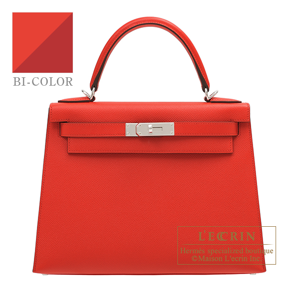 Hermes Kelly Verso bag 28 Sellier Rouge coeur/ Rouge grenat Epsom leather Silver hardware