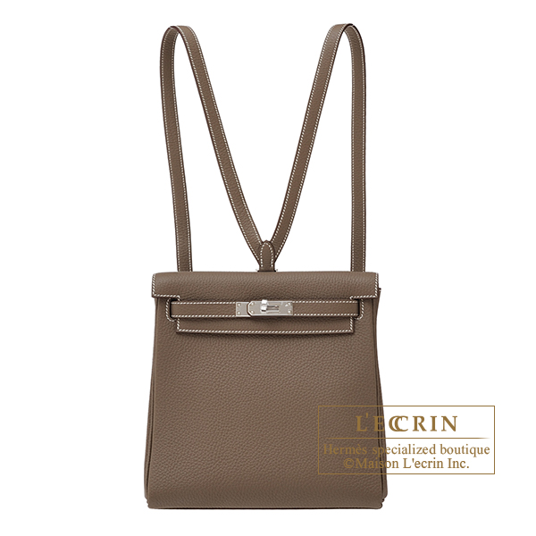 Hermes Kelly Ado PM Etoupe grey Clemence leather Silver hardware