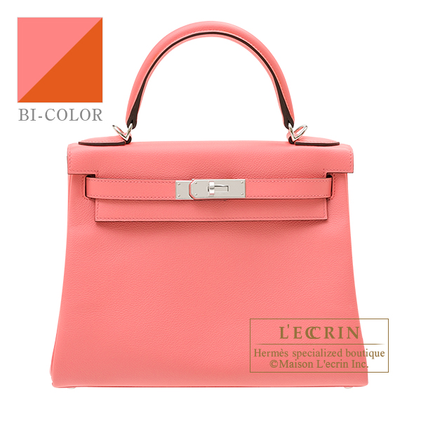 Hermes Kelly Verso bag 28 Retourne Rose d'ete/ Terre battue Evercolor leather Silver hardware