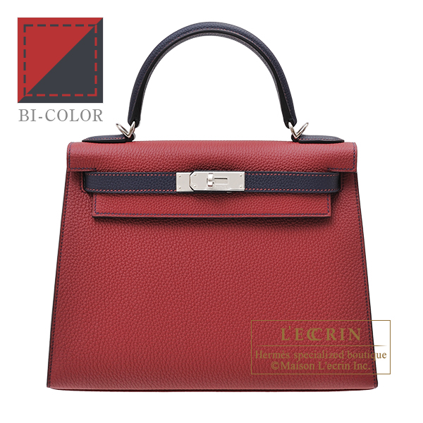 Hermes Personal Kelly bag 28 Sellier Rouge grenat/ Blue nuit Togo leather Silver hardware