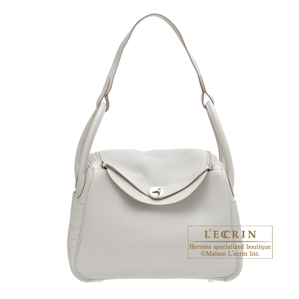 Hermes Lindy bag 30 Pearl grey Clemence leather Silver hardware