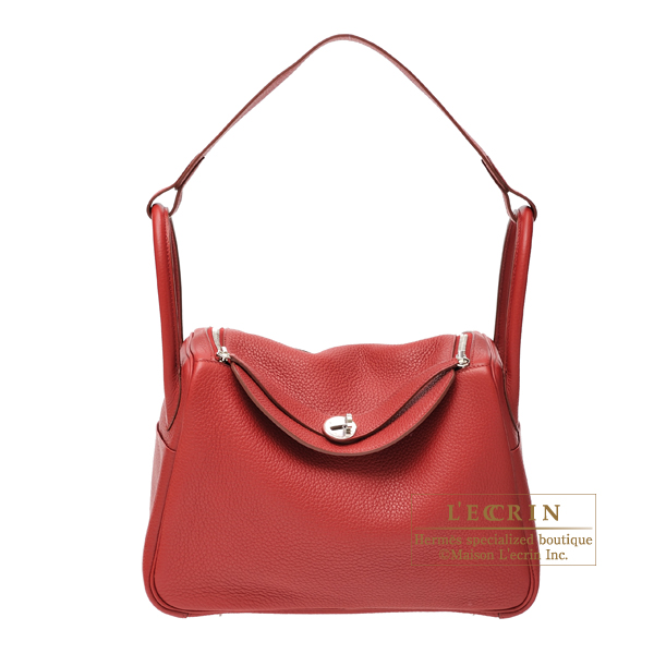 Hermes Lindy bag 30 Rouge garance Clemence leather Silver hardware