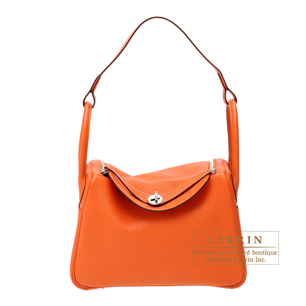 Hermes Lindy bag 30 Feu Clemence leather Silver hardware