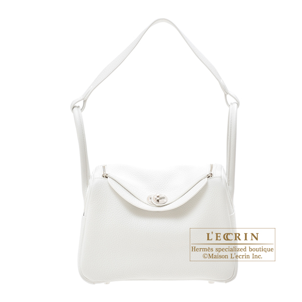 Hermes Lindy bag 26 White Clemence leather Silver hardware