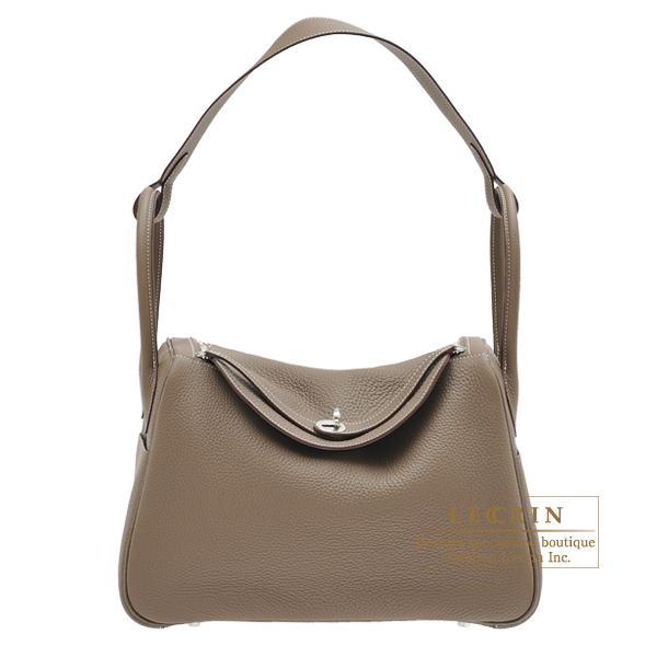 Hermes Lindy bag 34 Etoupe grey Clemence leather Silver hardware