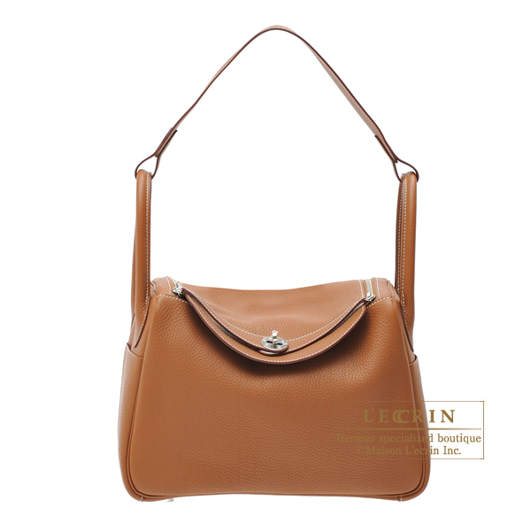 Hermes Lindy bag 30 Gold Clemence leather Silver hardware