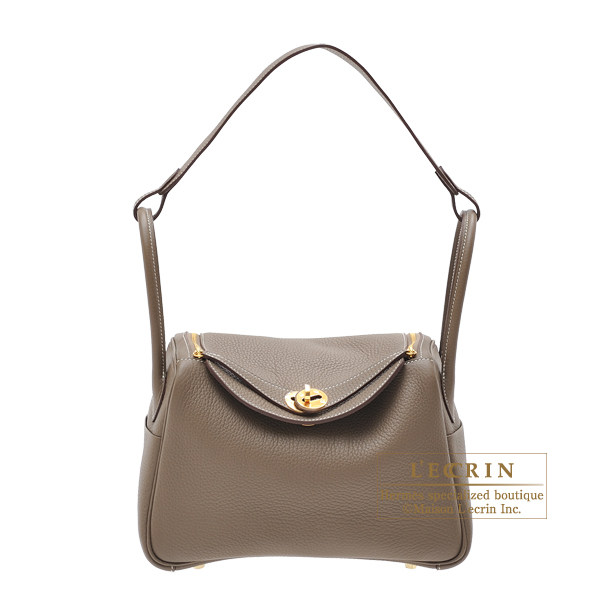 Hermes Lindy bag 26 Etoupe grey Clemence leather Gold hardware