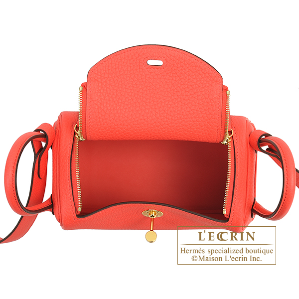 Hermes Lindy bag mini Rose texas Clemence leather Gold hardware