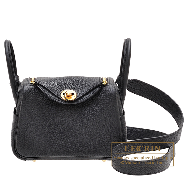 Hermes Lindy bag mini Black Clemence leather Gold hardware