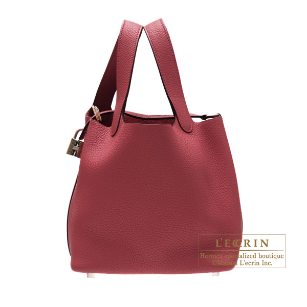 Hermes Picotin Lock bag MM Ruby Clemence leather Silver hardware
