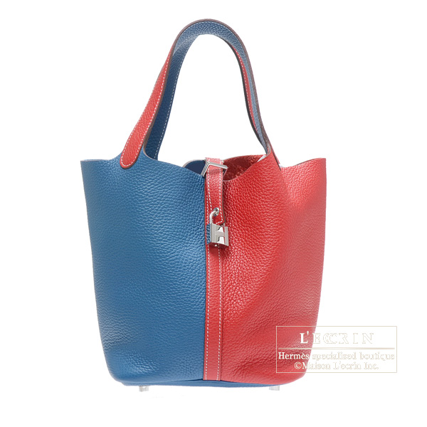 Hermes Picotin Lock casaque bag MM Rouge casaque/Blue thalassa Clemence leather Silver hardware