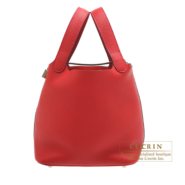 Hermes Picotin Lock bag MM Rouge casaque Clemence leather Silver hardware